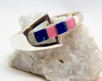 Gorgeous 925 Sterling Silver Blue Green Azurite & Bright Pink Rhodochrosite Gemstone Hinged Clamper Bracelet c.1958