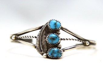 Beautiful Vintage Sterling Silver 3 Turquoise Stone 3 Band Cuff Bracelet
