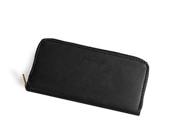 Black Leather Zip Around Womens Wallet Pocketbook