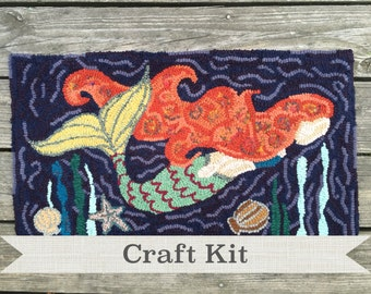 DEEP SEA MERMAID - Complete Primitive Rug Hooking Kit in Gift Box on Your Choice of Foundation