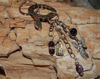 Arch Angel Keychain Garnet Gemstone Keychain Ruby Zoisite Keychain Anyolite KeychainYoga Charm Boho Bag Charm Energy Amulet Good Luck Gift