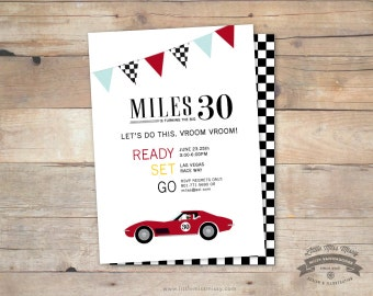Vintage Corvette, Race Car, Birthday, Baby Shower Invite- 5x7 DIY Printable by Little Miss Missy