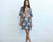 Spring SALE * BIG SALE Embroidered Print Dress- Grey.