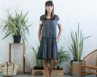 Summer SALE Drop waist midi dress with lace detail ,Grey linen summer dress