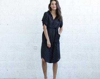 Halloween Sale SALE 30% OFF! Embroidered Button down dress, Black.
