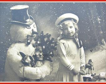 Antique Christmas Décor. Photo Postcard. Snowman, Little Girl, Toys, Sled, Doll, Teddy Bear, Santa Claus. 1910s Collectibles, Russian?