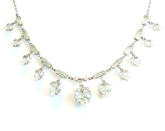Crystal Hearts Necklace. Rhinestone Baguette Choker. Sterling Silver. 1950s Vintage Jewelry.