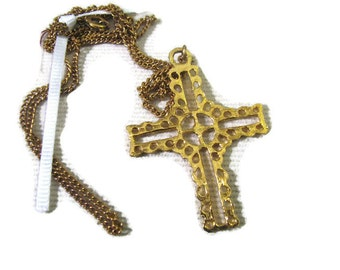 24 inch gold tone cross necklace