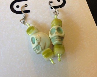 Yellow Green Sugar Skull Earrings