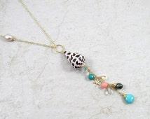 Long Hawaiian Shell Necklace, Gold Chain, Hawaii Beach Jewelry, Handmade Maui, Turquoise, Pink Coral, Gemstones, Starfish, Hebrew Cone