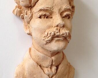 Wall sculpture - Small Bust of man - wall hanging art sculpture  of a Gentleman - Man with mustache -