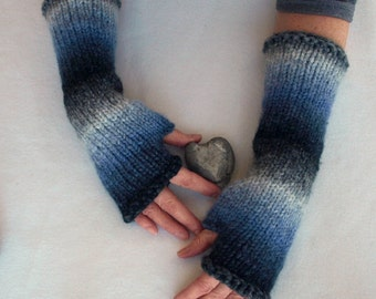 fingerless mitts, texting mittens, hand knit arm warmers - gradient stripes of blue and grey, ooak