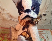 Primitive Antique style viscose Artist Bear French Bulldog Dog Handmade  Hafair Penny Grotz