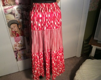 One Size Fits most women RSVP broomstick maxi skirt--western look--red and white checks/ginghams