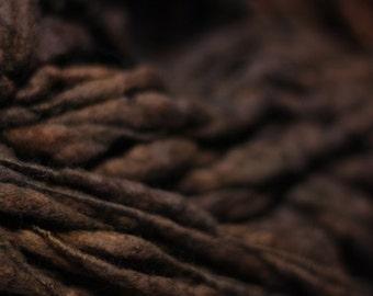 Thick and Thin Merino Handspun Wool Yarn Slub  tts(tm) Merino Hand dyed Two-Pounder Wenge Extra Super Bulky