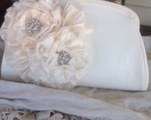 Shabby Chic Vintage Style Bridal Purse, mother of the bride,maid of honor gift,fabric flowers,bridal purse,vintage purse, embellished purse