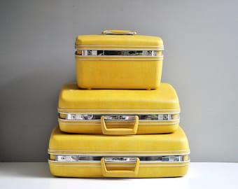 Vintage Bright Yellow Samsonite Suitcase Set