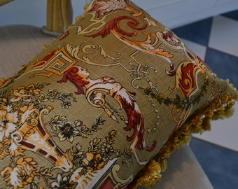 Italianate Style Lumbar Pillow Trimed with Gold Tassels