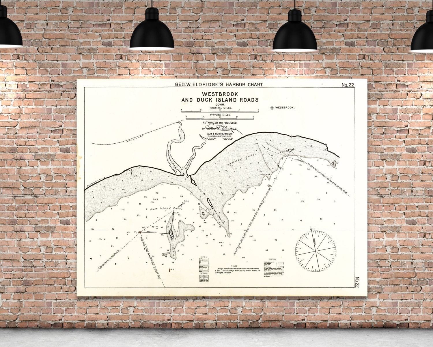 Antique print of a westbrook duck island roads for 12x15 calculator