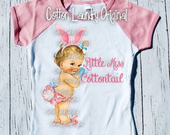 "Easter Day Girls Raglan Pink tee shirt ""Little Miss Cottontail"" Easter tee shirt short sleeve pink raglan"