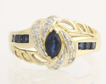 Sapphire & Diamond Bypass Cocktail Ring - 14k Yellow Gold Band Women's Estate L1278