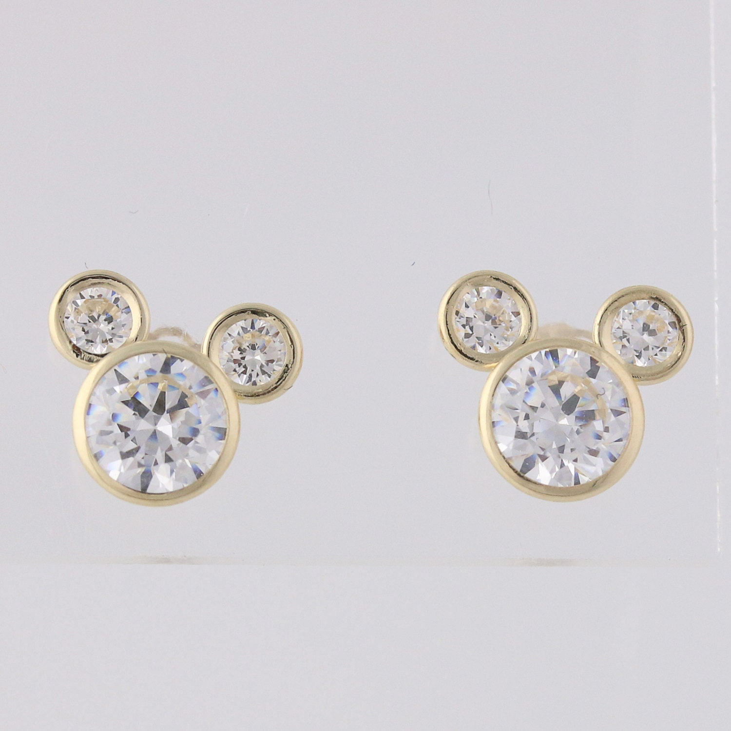 cz mickey mouse earrings 14k yellow gold stud white cubic