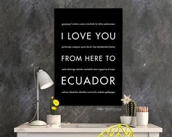 Vacation Poster, Ecuador Print, I Love You From Here To The ECUADOR, Shown in Black - Choose Color South America Galapagos, Canvas Poster