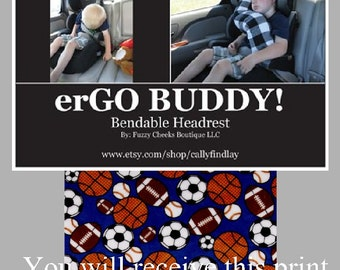 erGO BUDDY Bendable baby / toddler headrest carseat pillow and cover in All Star Sports
