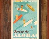 Spread the Aloha - 12 x 18 Retro Hawaii Travel Print