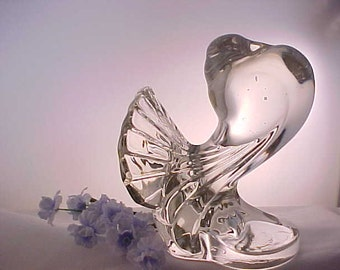 1940s Paden City Pouter Pigeon Glass Bird Figurine w/ Fan Tail, Vintage Crystal Figure of Bird, Mid Century Glass Animal Bookend, Home Decor