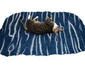 Cat Bed - Cat Mat - Hand Felted Wool Rug/Throw - Pet Mat - Pet Bed - Bengal Blue