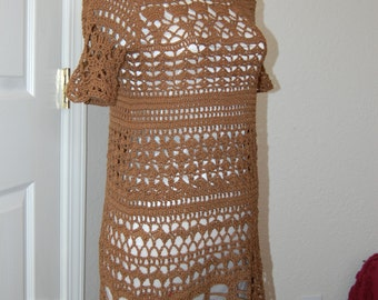 Crochet Dress Cotton/Acrylic Brown in size Medium/large with short sleeves