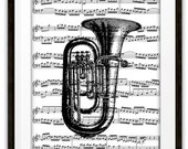Baritone Horm Illustration Music Book Page Art Print, Home & Living, Gift Ideas, Marching Band, Symphony Orchestra, Baritone Horn Player