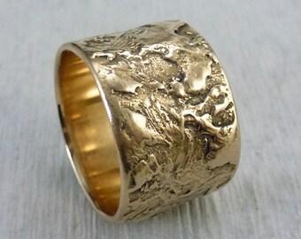 Wide Bronze Ring, Wide Textured Ring, Modern Boho Bronze Ring, Impasto Ring, Rustic Ring, Organic Ring