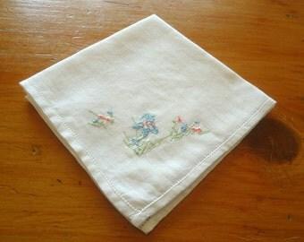 Handkerchief Hanky Hankie Vintage Hankys Hankies Antique Handkerchief Hankerchief  Embroidered Iris