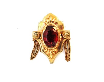 Vintage Garnet Red Glass Brooch Gold Victorian Revival Pin Foxtail Fringe 1950s Jewelry