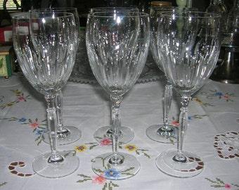 6 Vintage Schott-Zwiesel Cut Crystal Water Wine Goblets Harmony Pattern Fabulous Find