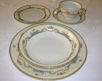 Vintage Meito Ivory China Made In Occupied Japan Orleans Shape 5 Piece Place Setting