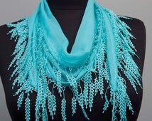 Fringed lace scarf ,triangle lace scarf , guipure scarf, summerscarf ,woman scarf, plain ,blue