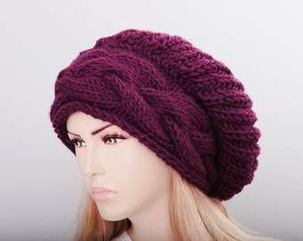 Big Sale -Beanie hat winter slouchy oversized  knit hat for woman in cherry -COLOR OPTION  AVAILABLE