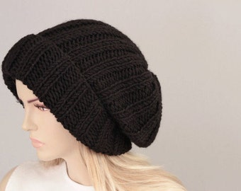 Big Sale -Slouchy beanie  oversized beanie hat winter knit hat for woman in dark blue ,black  -COLOR OPTION AVIABLE