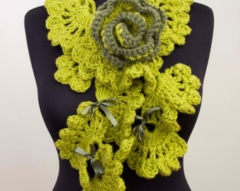 Green crochet  ruffle scarf  with removable brooch,  long crochet scarf