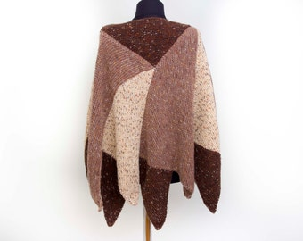 SALE  poncho Knitted  cabled poncho  cable pattern plus size  chunky knit poncho,  in brown shades