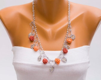 Bip necklace,Crochet bead work necklace,in peach and cinammon ,silver