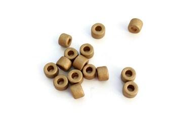 Greek Ceramic Tube Beads, Gold Mykonos Beads, Gold tube beads, Gold tubes - 4x6mm 30 pcs C 10 405