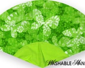 Washable Hand Fan Traditional Bright Lime Plisse Butterflies