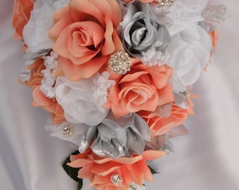 """17 Piece Package Silk Flowers Wedding Bridal Bouquet Cascade Bride Teardrop Bouquets Decoration CORAL SILVER WHITE """"Lily of Angeles"""" COSI01"""