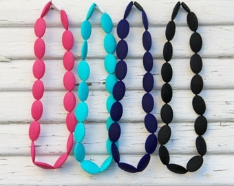 FREE SHIPPING SALE - Silicone Teething Necklace - Large bead nursing necklace - Choose from 4 colors - Sensory teething toy