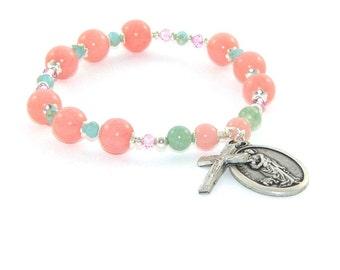 St Agatha Chaplet Prayer Bracelet, Pink Jade Beads, Patron Saint of Breast Cancer Stretch Bracelet