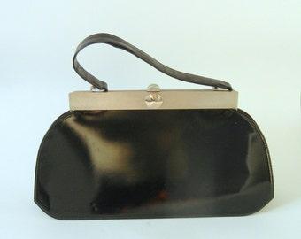 Vintage Handbag, Vintage Purse, Patent Leather Purse, Vintage 1950s Purse, 1950s Black Handbag, 50s Patent Leather Handbag, Retro 50s Purse